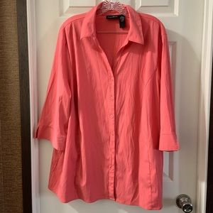 Maggie Barnes Coral Button Down 3/4 Sleeve Top 2X